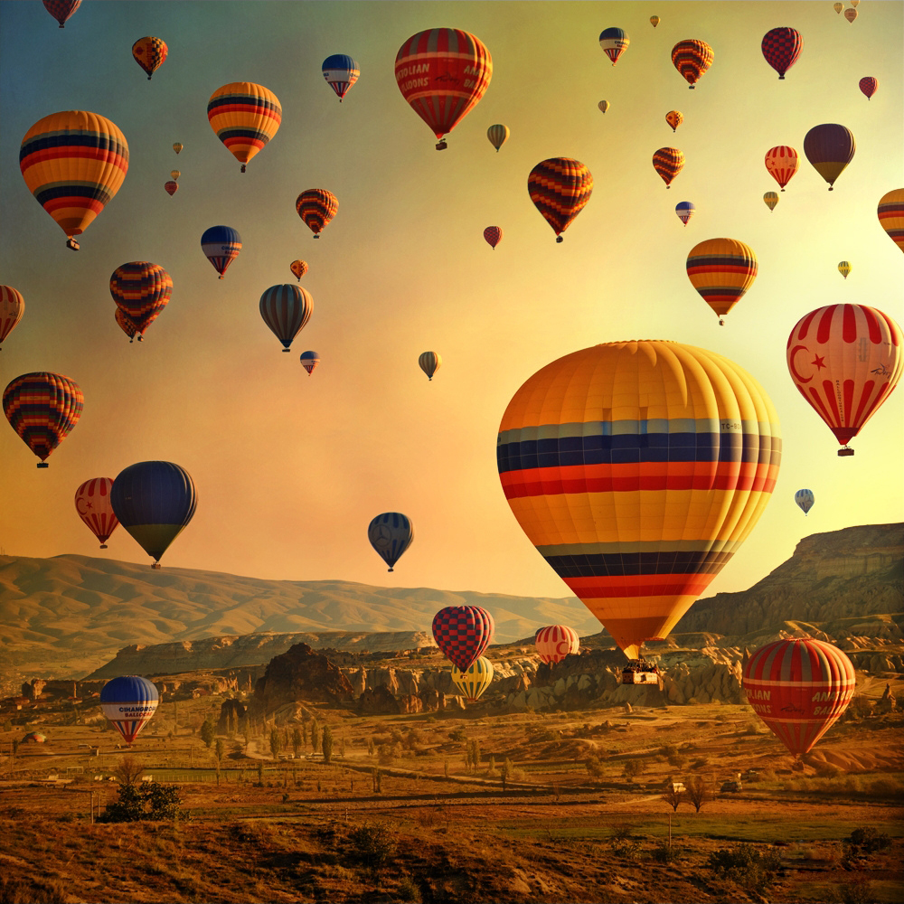 Balloons On Cappadocia Sky Sunrise Time